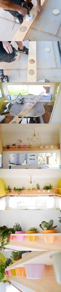 Estantería DIY con maceteros - vintagerevivals.com - DIY Planter Shelfs