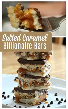 Dessert is the best part of a meal! These delicious, rich Salted Caramel Billionaire Bars are absolutely irresistible! Photos and recipe here! Best Dessert Recipes, Easy Desserts, Delicious Desserts, Yummy Food, Bar Recipes, Cream Recipes, Yummy Recipes, Diet Recipes, Breakfast Recipes