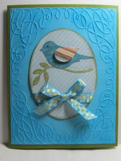 Friendship Note Card Embossed with Blue Bird by stampingcardgirl