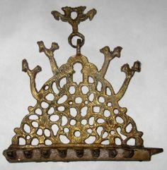 Moroccan Antique Morocco 1900s Judaica Hanukkah Oil Menorah Bronze