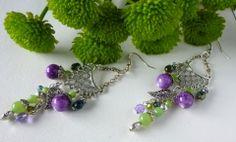 """Réservées . Boucles d'oreille ,""""Bougainvillée"""" collection Eté 2014,métal argenté ,perles de verre : Boucles d'oreille par bleusoupir"""