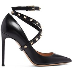 Valentino Studwrap leather pumps (260.400 HUF) ❤ liked on Polyvore featuring shoes, pumps, black pumps, valentino shoes, black stiletto pumps, stiletto shoes and black leather pumps