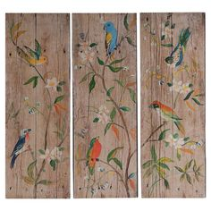 Add artful appeal to your entryway or living room with this charming wall decor, showcasing a bird motif on a weathered wood panel.   ...
