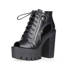 SheIn(sheinside) Black Zipper Lace Up High Heeled Sandals (10.845 HUF) ❤ liked on Polyvore