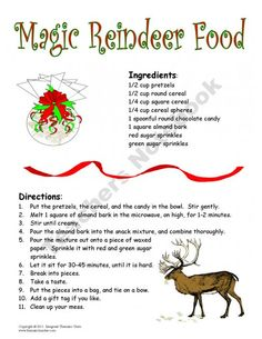 Individual recipes for Magic Reindeer Food, includes poster size for ...