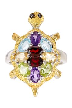 Two-Tone Multi-Gemstone Turtle Ring by Olivia Leone on @HauteLook