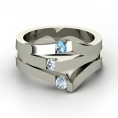 Round Diamond Palladium Ring with Blue Topaz & Aquamarine