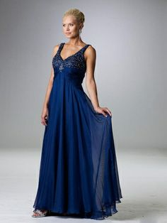 A-line V-neck Midnight Beading Chiffon Sleeveless Floor-length Mother of the Bride Dress