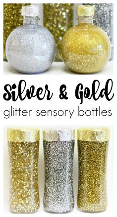 Silver and Gold Glitter Sensory Bottles that Sparkle and Shine is part of Kids Crafts January Glitter Make these gorgeous glitter sensory bottles with the kids to celebrate the new year (or any time - Sensory Bins, Sensory Activities, Infant Activities, Sensory Play, Sensory Table, New Years Activities, Activities For Kids, Activity Ideas, New Year's Crafts