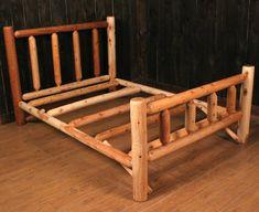 Outdoor Log Furniture | Kentucky Log Bed from Rocky Top Cedar Log Furniture & Log Railing