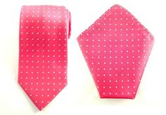 Mens Necktie Pink White Polka Dots 8.5 CM Necktie with Pocket Square.
