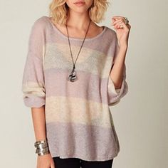 Free People Stripe Sweater Oversized and light. Nylon and Mohair. Great with shirt underneath. Gently worn Free People Sweaters Crew & Scoop Necks