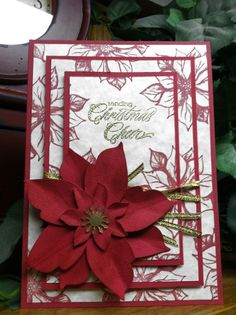 Sending Christmas Cheer with Hero Arts stamps, triple layer stamping technique, Sizzix build a flower die~AS