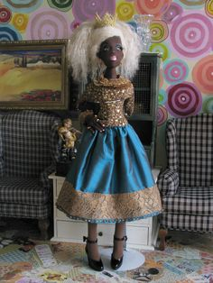 "OOAK Ursula 22"" AA Lady Art Doll All Cloth Black Ethnic BJD Size Gayle Wray 