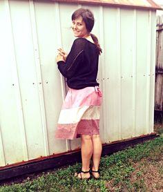Chunky sweater, apron skirt.