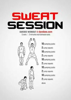 Sweat Session lives up to the promise of the its premise by making large muscles work hard. Home Workout Men, Gym Workout Tips, At Home Workouts, Studio Workouts, Running Workouts, Superhero Workout, Calisthenics Workout, Kickboxing Workout, Workout Routines