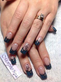 Fabulous Nails, Gorgeous Nails, Pretty Nails, Gold Glitter Nails, Silver Nails, French Nail Art, French Tip Nails, Judy Nails, Long Nail Art