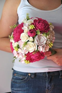 Wedding bouquet fuchsia peony pink hydrangea spray by yourhappyday