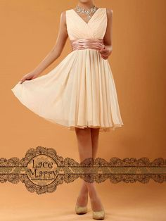 Chic Design Short Bridesmaid Dress with VNeck Style by LaceMarry, $69.00, I want this for my mother of the bride dress!