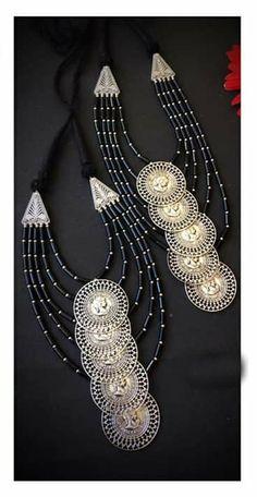 Diy Fabric Jewellery, Beaded Jewellery, Oxidised Jewellery, Ethnic Jewelry, Silver Jewellery, Pearl Jewelry, Jewelery, Unique Jewelry, Handmade Jewelry Designs