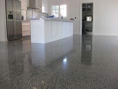 Kitchen Flooring Design With Stained concrete floors Ideas Suit . Concrete Floors In House, Finished Concrete Floors, Polished Concrete Flooring, Concrete Kitchen, Kitchen Flooring, Concrete Texture, Kitchen Paint, Kitchen Design, Floor Design