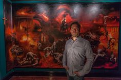 Photo by Darren Penrod  Classical figurative painter Eric Armusik   February 2015 in front of his The Damned commission.  http://www.ericarmusik.com #artist #painter #classicalpainter #figurativeartist #ericarmusik #eric #armusik