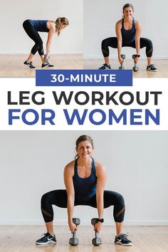 A complete lower body burnout. This 30-Minute Leg Workout supersets lower body strength exercises to build strong legs at home! Legs, Glutes, Quads and Hamstrings -- hit them ALL in this 30-Minute Leg Workout At Home! Best Leg Workout, Leg Workout At Home, Leg Day Workouts, Fitness Workout For Women, Hip Workout, Pilates Workout, Strength Training Workouts, Easy Workouts, Workout Videos