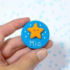 Nurse Name Badge - Starfish Nurse Name Badge, Name Badges, Colorful Backgrounds, Bunny, Names, Orange, Cute, Handmade, Badges