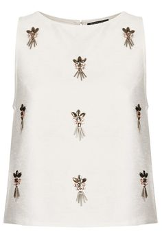 Beautiful embellished top from Topshop. Fashion Details, Diy Fashion, Womens Fashion, Embroidery Fashion, Beaded Embroidery, Hijab Style, Lesage, Shell Tops, Hand Embroidery Designs