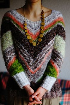 Ravelry Colorful stripe mohair sweater pattern by Mariko Mikuni (三國 万里子)
