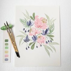 Watercolour Drawings, Watercolor Projects, Watercolour Tutorials, Watercolour Painting, Painting & Drawing, Simple Watercolor Flowers, Easy Watercolor, Watercolor Cards, Floral Watercolor
