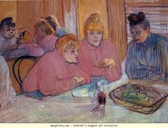 Henri de Toulouse-Lautrec (1864-1901) - Prostitutes Around a Dinner Table, 1893-94