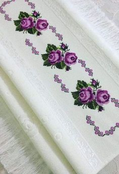 This Pin was discovered by Hat Butterfly Cross Stitch, Cross Stitch Rose, Cross Stitch Borders, Cross Stitch Flowers, Cross Stitch Designs, Cross Stitching, Cross Stitch Patterns, Flower Embroidery Designs, Ribbon Embroidery