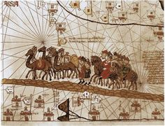 Unbekannt - Catalan Atlas, detail showing the family of Marco Polo travelling by camel caravan, 1375 National Geographic, Roi Charles, Medieval, Age Of Discovery, Marco Polo, Silk Road, Map Art, Les Oeuvres, Middle Ages