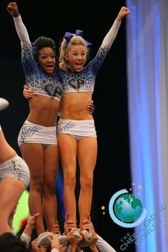 Cheer Athletics Cheetahs Peyton and Jasmine hitting pyramid at worlds 2013