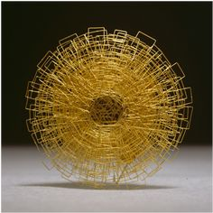 18K Gold Brooch by Giovanni Corvaja. Made up of many, many overlapping squares of various sizes.