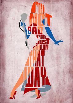 Jessica Rabbit, quién enmarcado Roger Rabbit Poster - cartel de película, impresión del arte, tipografía minimalista cartel, Ilustración, arte de pared