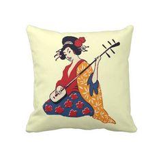 Japanese Geisha Girl  & Shamisen Reversible Pillow by alleyshirts