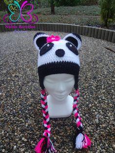 Touca croche panda