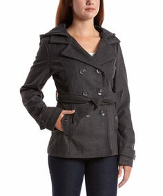 Look what I found on #zulily! Charcoal Hooded Peacoat by Yoki #zulilyfinds
