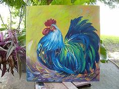 ROOSTER PAINTING 12 x 12 WOOD ORIGINAL PAT ROLLINS ART