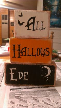 All Hallows Eve painted wooden Halloween blocks
