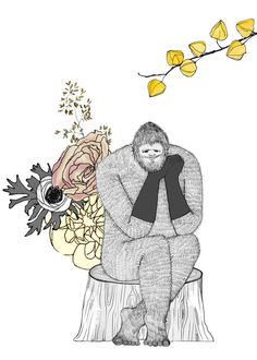Bigfoot, flowers and gloves, 5x7 print. $12.00, via Etsy.