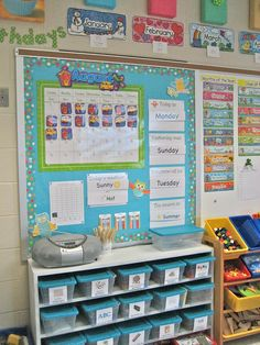 great ideas for an organized room - love the idea of the shelf for whiteboards under the SMART board!