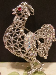Cock a doodle DOO Rooster Pin Brooch Covered with Rhinestones