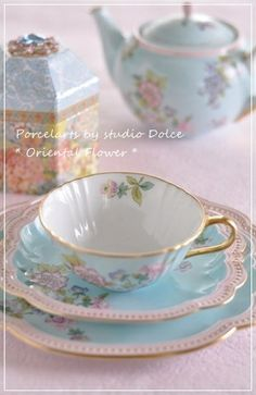 If you love porcelain and #tea, you'd enjoy this set of a teacup and 2 little plates.