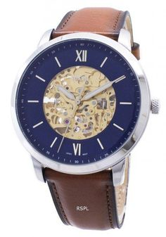 Stainless Steel Case Leather Strap Automatic Movement Mineral Crystal Navy Blue Dial Analog Display Luminous Hands And Markers Pull/Push Crown See Through Case Back Buckle Clasp Water Resistance Approximate Case Diameter: Approximate Case Thickness: Fossil Watch Box, Fossil Watches For Men, Vintage Watches For Men, Mens Designer Watches, Personalized Gifts For Her, Stainless Steel Watch, Mineral, Navy Blue