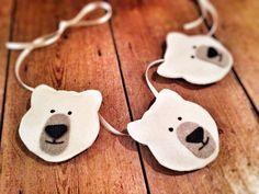 Three handmade felt polar bears, black and white nursery garland / bunting /decor, hand stitched monochrome bear decoration, baby girls boy