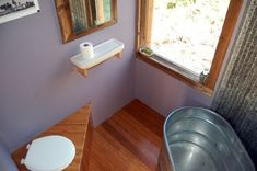 I like the bathroom. couples mortgage free diy tiny cabin studio built for Cabin Bathrooms, Tiny House Bathroom, Small Bathroom, Bathroom Ideas, Tiny Bathrooms, Minimalist Bathroom Design, Minimalist Bedroom, Off Grid Cabin, Little Houses