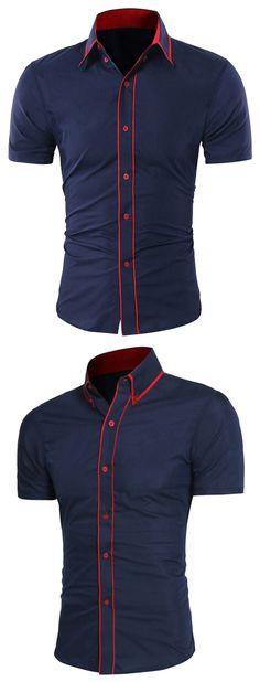 Button Down Collar Contrast Trim Shirt - Cadetblue M